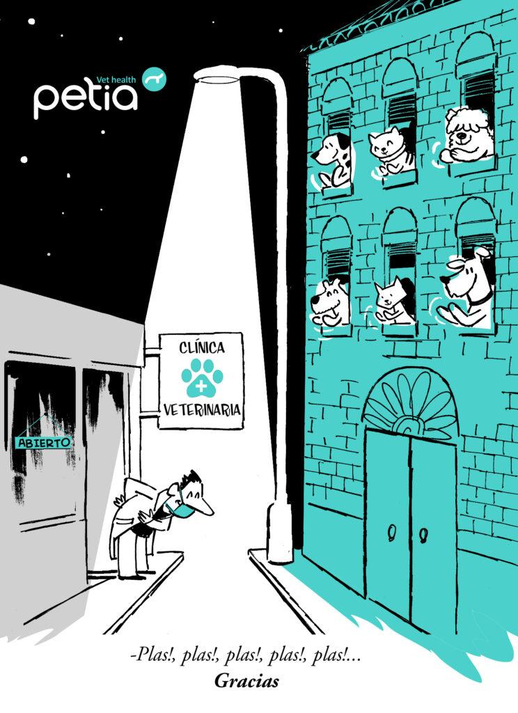 Ilustración de agradecimiento en la que perros y gatos aplauden desde sus ventanas, al veterinario que las recibe en la puerta de su clínica que permanece abierta.